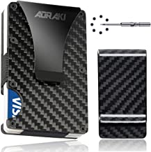 Carbon Fiber Wallet - RFID Blocking Minimalist Wallets for Men - Aluminum Money Clip Wallet | Rigid Metal Wallet | Compact EDC Credit Card Holder for Travel with Additional Carbon Fiber Money Clip