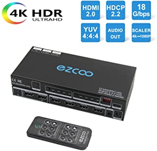 HDMI Matrix 4x2 4K60 4:4:4 HDR Dolby Vision Atmos SPDIF 5.1CH Audio Extractor - HDMI Scaler 4K 1080P Sync,EDID DIP Switch,...