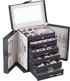 Large Jewellery Box Watch Beads Bracelets Rings Earrings Pins Cufflinks Storage Display Case 231 (Black)