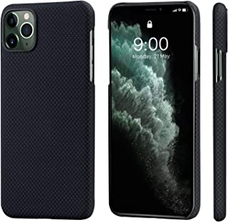 """PITAKA Magnetic Phone Case for Apple iPhone 11 Pro Max 6.5"""" MagEZ Case Minimalist 100% Aramid Fiber [Body Armor Material] Slim Perfectly Fit Stylish 3D Grip Non-Slip Back Cover- Black/Grey(Plain)"""