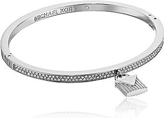 "Michael Kors ""Fashion Logo Love Silver-Tone Hinged Padlock Charm Bracelet"