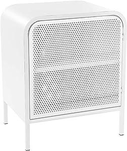 Atmosphera Mueble de Almacenamiento Mesilla 1 Puerta con Chapa Perforada - Encanto Industrial, Taller, Loft - Color Blanco.