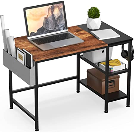 HOMIDEC Bureau Informatique,Table d'étude Bureau d'ordinateur avec étagères de rangement,bureaux et postes de travail pour chambre de bureau à domicile 100x50x75cm