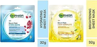 Garnier Skin Naturals, Hydra Bomb, Face Serum Sheet Mask (Blue), 32g and Garnier Skin Naturals, Light Complete Face Serum ...