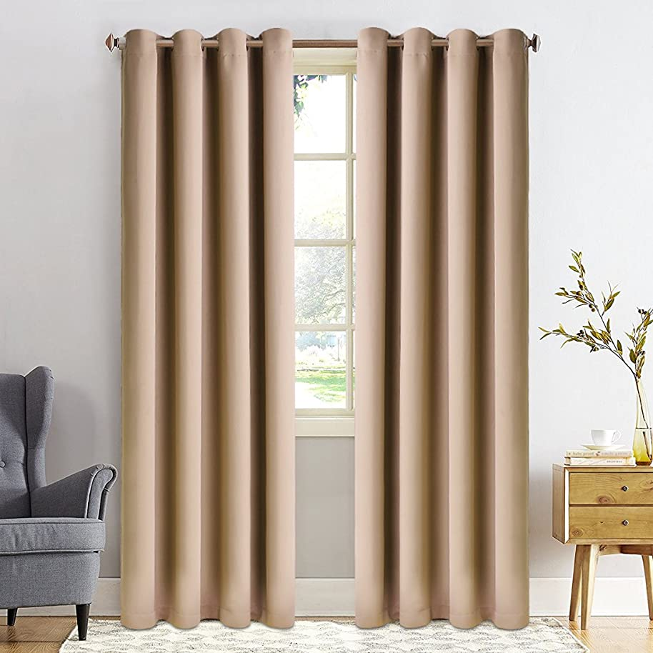 Fairyland Thicken Blackout Curtains for Bedroom,Thermal Insulated Room Darkening Drapes for Living Room, Window Treatment with 8 Grommets per Panel,Set of 2 Panels, 52 by 84 inch Each, Camel