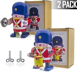 H-Partner 2 Pack Classic Retro Vintage Wind Up Musical Soldier, Clockwork Metal Tin Toy,Collectors Item, Nostalgic Home Decoration, Birthday Cake Decoration