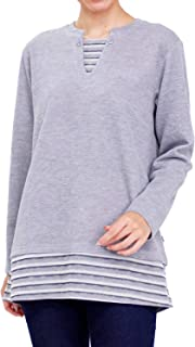 Tシャツ 長袖 VANSPORTS(バンスポーツ) ダブルフェイスフェイクレイヤードロングプルオーバー レディース チュニック ロゴ刺繍 M L LL 3L エンジ カーキ ネイビー グレー 秋