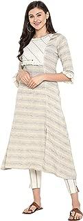 Janasya Women's Multicolor Cotton Printed A-Line Kurta With Narrow Pant