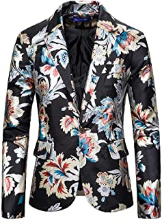 YOUTHUP Men's Blazers Slim Fit Casual Fancy Prints Chic Blazer Jacket Floral Party Coats