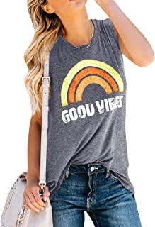 d0add912 Imily Bela Womens Summer Graphic Tops Funny Juniors Tank Shirt Good Vibes  Street Tees