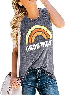 Womens Graphic Tank Tops Good Vibes Summer Sleeveless Rainbow Casual Tees
