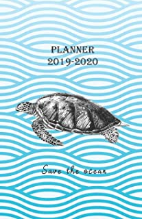 Planner 2019 - 2020 Save the ocean: Vintage Cover Design with a Turtle - Diary / Agenda from JULY 2019 through DECEMBER 2020 with yearly, monthly calendars, notes, schedule … (Monday start week)