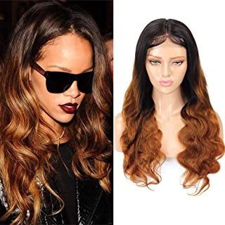 Ombre Body Wave 4x4 Lace Closure Wigs Human Hair Wigs Two Tone Brown Hair #1B30 Wigs for Black Women Brazilian Body Wave Wigs Virgin Hair Baby Hair (12 Inch)