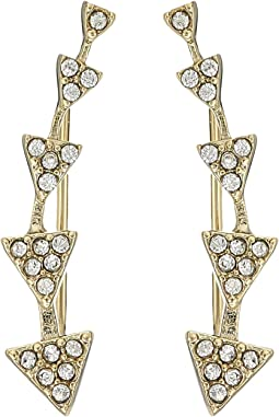 LAUREN Ralph Lauren Minimal Metal and Pave Gradual Triangle Climber Earrings