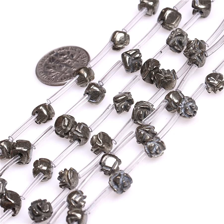Pyrite Beads for Jewelry Making Natural Gemstone Semi Precious 7-8mm Flower Shape Silver Gray 15