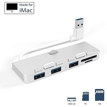 Anikks USB 3.0 ハブ、 iMacに対応 超薄型アルミニウム製 3 USB&SD/TFカードリーダーコンボ搭載 iMac(21.5インチ/ 27インチ/ 5K)対応