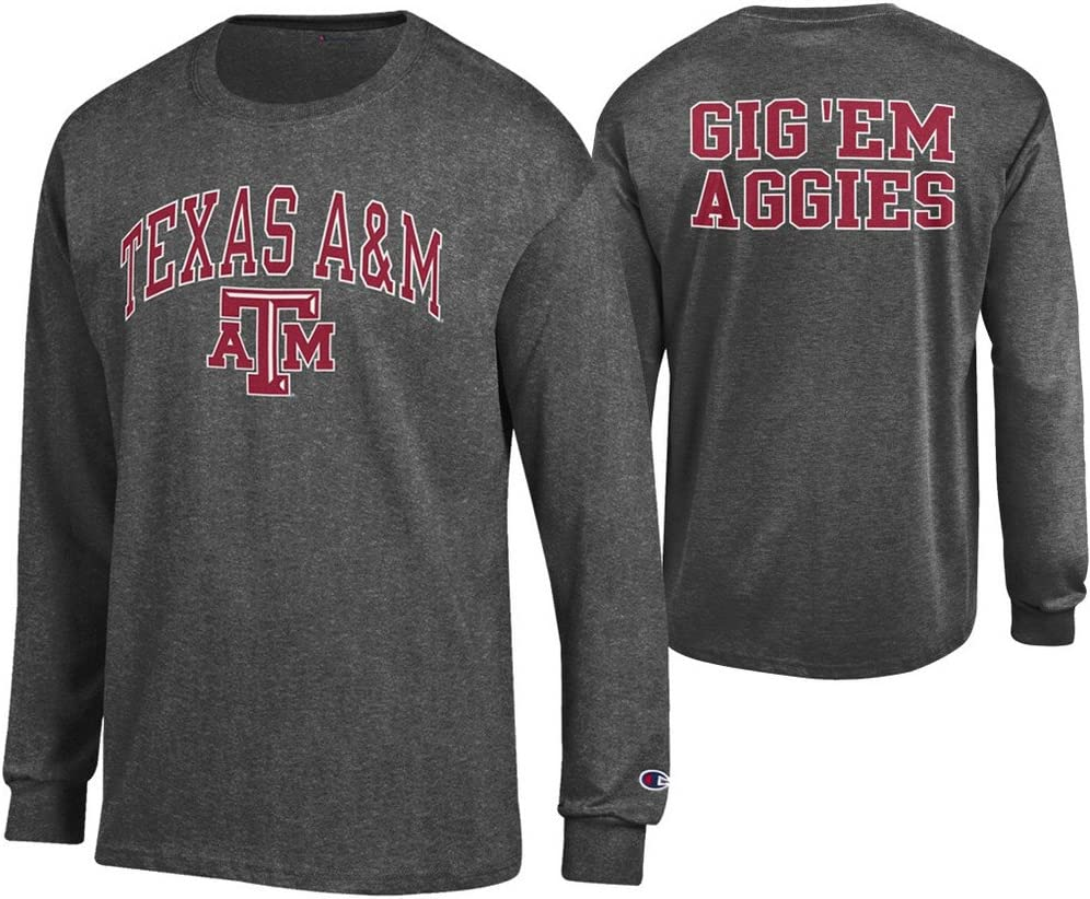 Elite Fan Shop NCAA Mens Front//Back Dark Heather Long Sleeve Tshirt