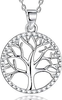 Lydreewam árbol de la Vida Collar para Mujer Plata de Ley 925 con Joyero, Ajustable 40+5cm