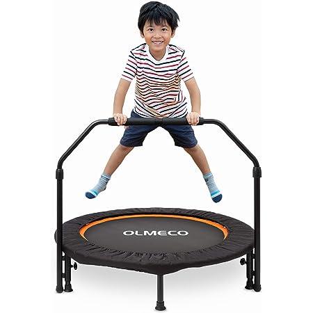 OLMECO 親子で使える トランポリン 手すりつき トランポリンダイエット動画講座つき 折りたたみ 静音 ゴム式 耐荷重110kg 家庭用 子供用 兼 大人用 日本語説明書つき