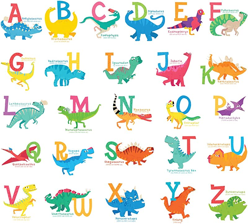 Decowall DS 8033 A Z Dinosaur Alphabet Kids Wall Stickers Wall Decals Peel And Stick Removable Wall Stickers For Kids Nursery Bedroom Living Room Small
