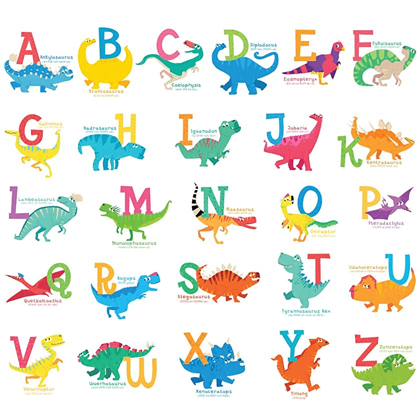 Decowall DS-8033 A-Z Dinosaur Alphabet Kids Wall Stickers Wall Decals Peel and Stick Removable Wall Stickers for Kids Nursery Bedroom Living Room (Small)