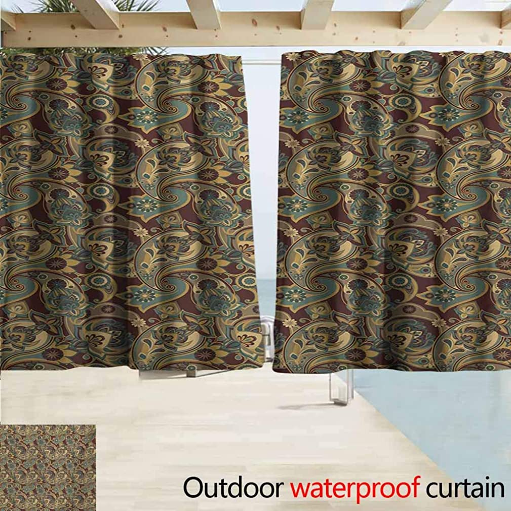 AndyTours Exterior/Outside Curtains,Paisley Iranian Hippie Themed Spiritual Textured Floral Ornament Persian Artwork,Rod Pocket Energy Efficient Thermal Insulated,W72x72L Inches,Chocolate Sand Brown