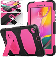 Galaxy Tab A 8.0 2019 Rugged Case with Kickstand,SM-T290 /SM-T295 Case,Full Body Heavy Duty Rugged Shockproof Protective Case Cover with Stand for Samsung Galaxy Tab A 8.0 T290/T295/T297 (Pink)