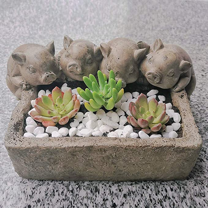 home decoration Pig with Watering can sculpture garden ornament stat figure