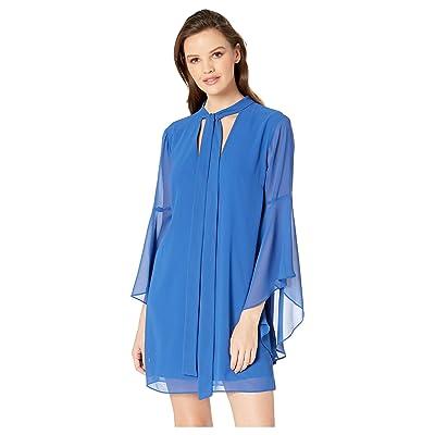 BCBGeneration Neck Tie A-Line Flutter Sleeve Dress (Blue Iris) Women