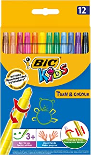 BIC Kids Turn & Colour Crayons - Assorted Colours, Pack of 12