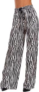 4d202fb76d96a0 Toocool - Pantaloni Donna Palazzo Animalier Zebra zebrati Laccio Harem Ampi  GI-8018 [Taglia