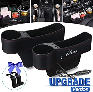 Jeteven Car Seat Gap Filler, Multifunctional with Cup Holder, Storage Box, 2 USB Charging, 2 Packs Car Console Side Organi...