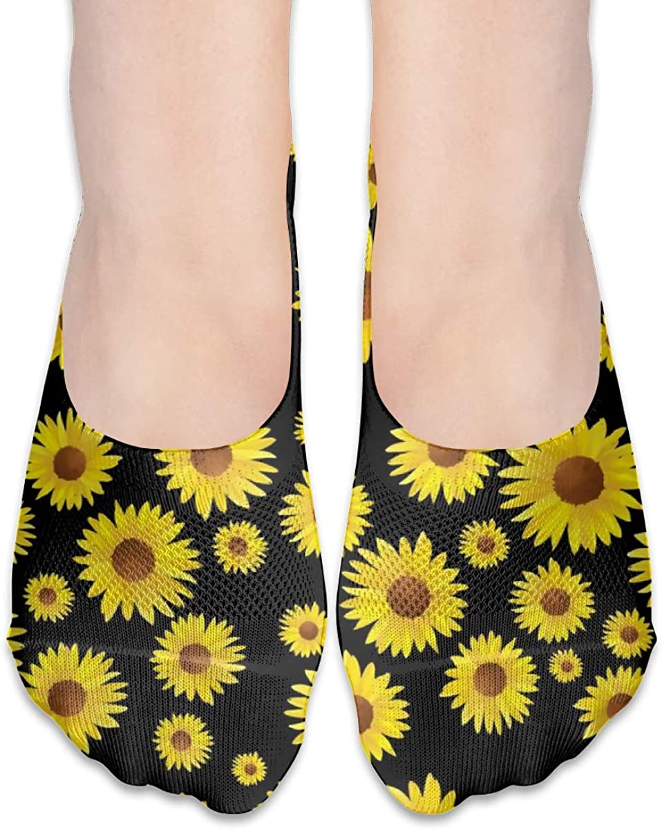 Personalized No Show Socks With Country Rustic Sunflower Print For Women Men