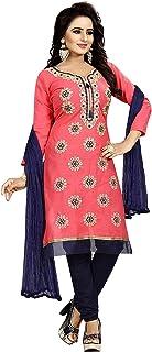 Ethnicset Women's Cotton Unstitched Salwar Suit (rani-pink-E _Pink_ Free Size)