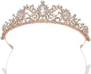 SWEETV Rose Gold Wedding Tiara for Women - Rhinestone Princess Tiara Headband, Prom Queen Tiara Crown Bridal Headpiece