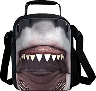 KIds Insulated Lunch Bags For Food Children 3D Shark Lunch Tote Box Meals With Shoulder Adjustable Strap And Water Bottle Holder