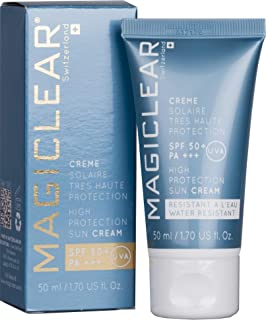 Luxury face Sunscreen SPF 50 PA+++ Waterproof organic moisturizer mineral zink Sunblock. Anti age facial daily for men, women, baby skin. Swiss brand Magiclear 1.7 Oz