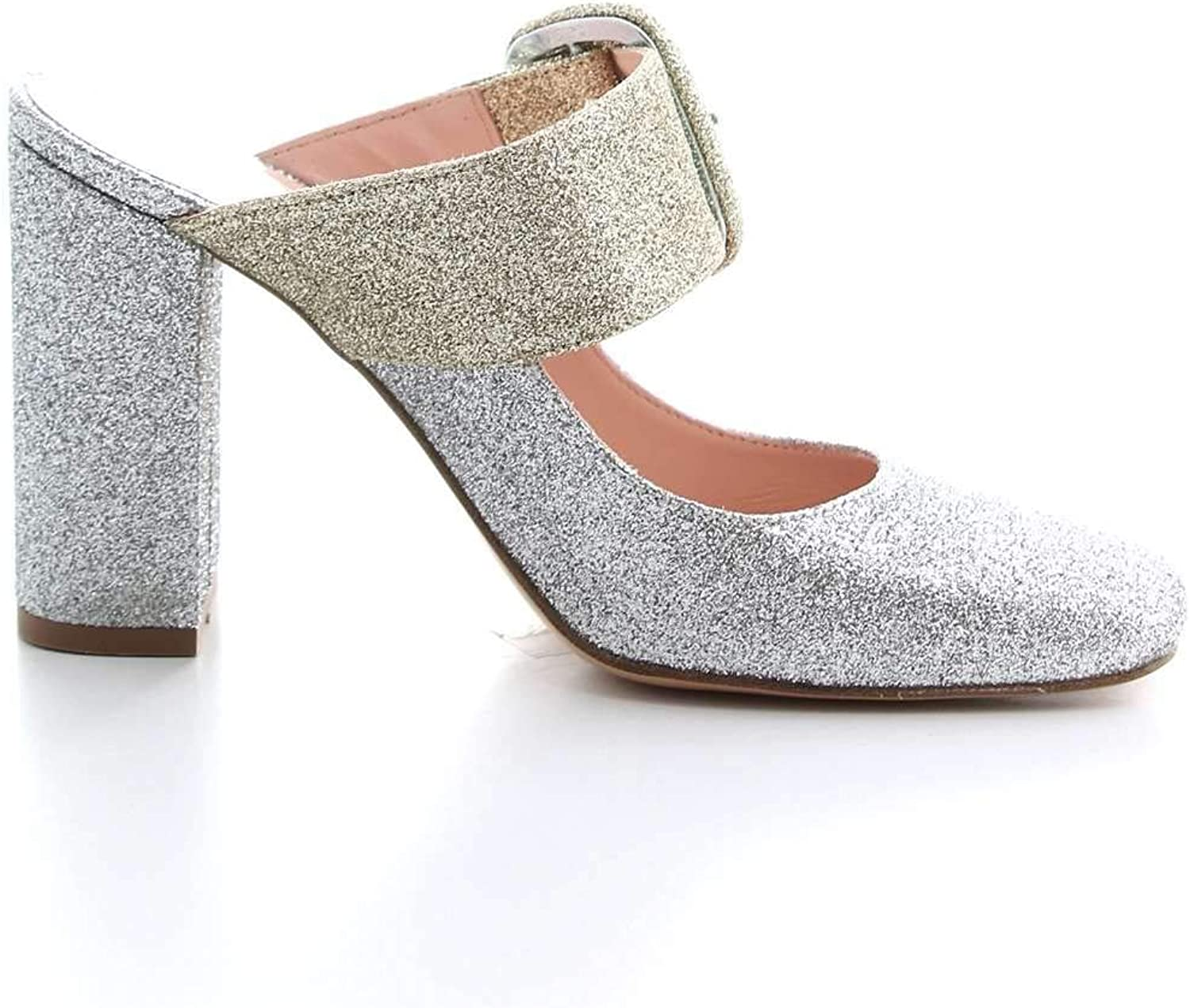 ANNA F Women's 1137SILVER Silver Leather Heels