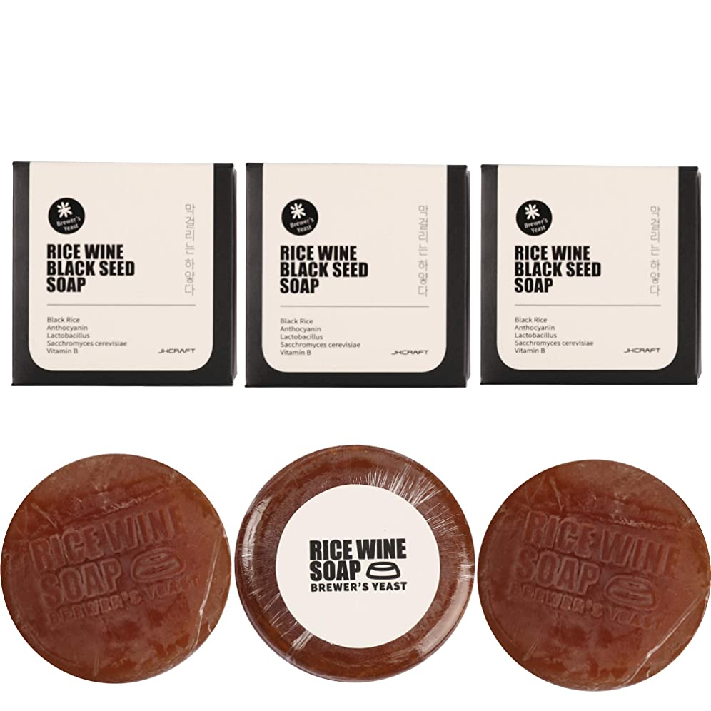 交通渋滞ウルル集団JKCRAFT RICEWINE BLACK SEED SOAP 黒米マッコリ酵母石鹸,無添加,無刺激,天然洗顔石鹸 3pcs [並行輸入品]