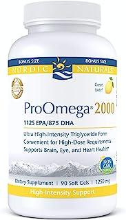 Nordic Naturals ProOmega 2000, Lemon Flavor - 2150 mg Omega-3-90 Soft Gels - Ultra High-Potency Fish Oil - EPA & DHA - Promotes Brain, Eye, Heart, Immune Health - Non-GMO - 45 Servings