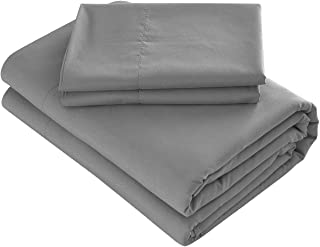 Prime Bedding Bed Sheets - 3 Piece Twin Sheets, Deep Pocket Fitted Sheet, Flat Sheet, Pillow Case - Dark Gray