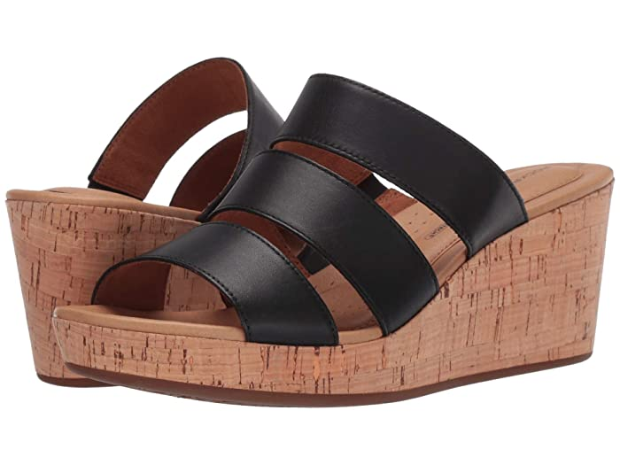 Rockport  Lyla 3 Band Slide (Black) Womens Sandals