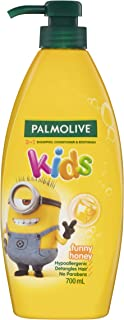 Palmolive Kids 3 in 1 Hypoallergenic Hair Shampoo, Conditioner & Body Wash Minions Funny Honey Detangles Hair 700mL