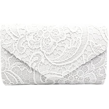 PB-SOAR Elegant Damentasche Clutch Abendtasche Brauttasche Umhängetasche Handtasche mit Spitze, 8 Farben auswählbar (Weiß)