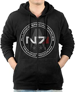 Hoodie Sweatshirt Men's Mass Effect N7 Long Sleeve Zip-up Hooded Sweatshirt Jacket