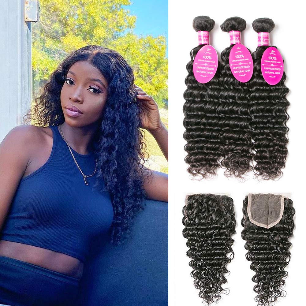 Brazilian Deep Nashville-Davidson Mall All items in the store Wave Bundles with Closure 3 wi Hair Human
