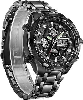 Men Full Stainless Steel Watch Sport Chronograph Waterproof Casual Wristwatch Digital Analog Dual Display with Date