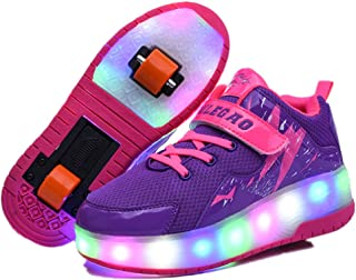 Boy's Girl's LED Light up Double Wheel Shoes Roller Shoes Roller Sneakers