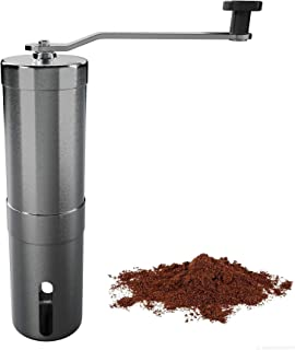 Manual Coffee Grinder With adjustable ceramic conical burr for precision grinding from coarse to fine powder - Grinding fragrance - Portable brushed stainless steel mill for home/travel and camping