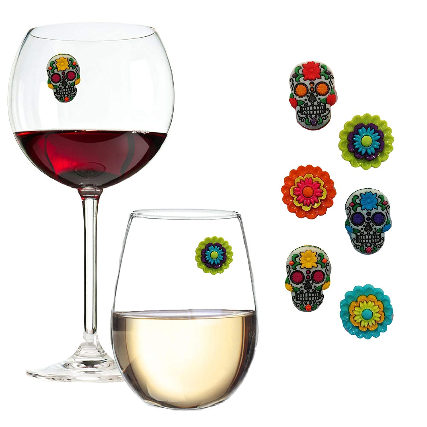 Sugar 2021 model Skull Wine Glass Charms for Halloween Max 66% OFF of Fiestas or - Set